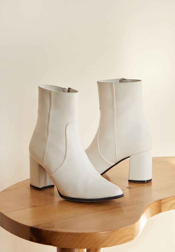 White High Heel Boots with Detail