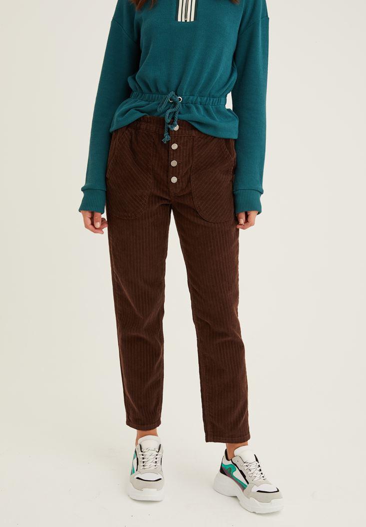 Kahverengi Düğme Detaylı Kadife Pantolon
