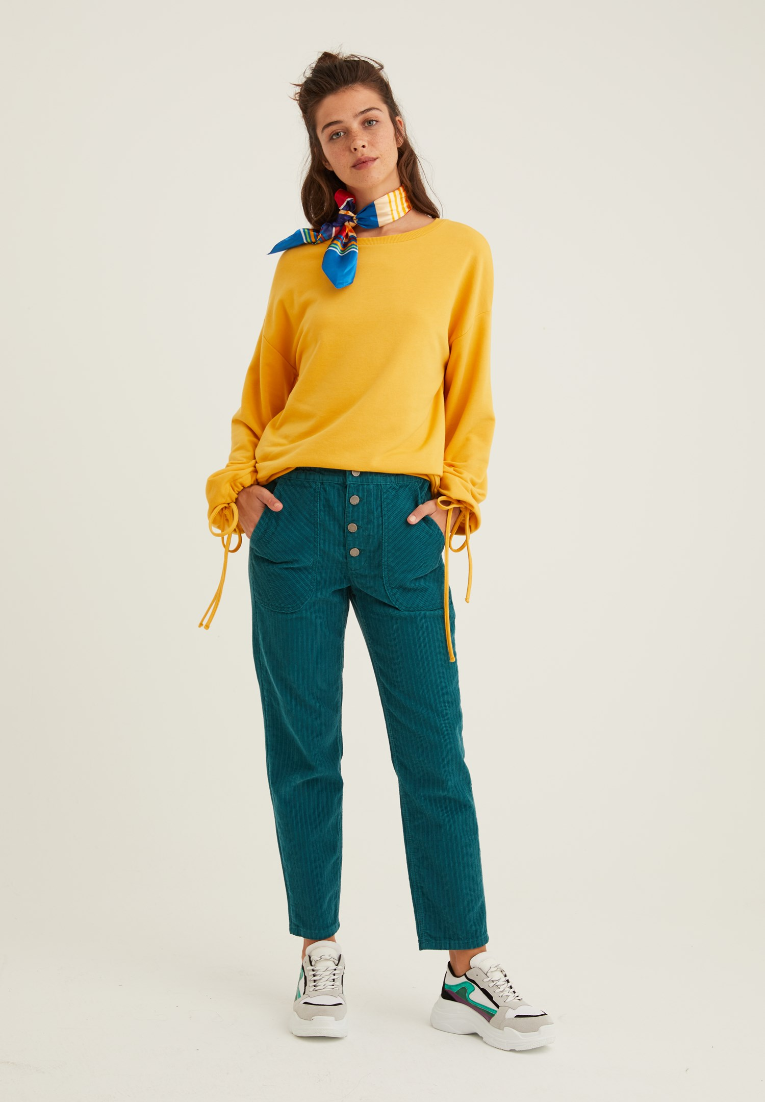 Women Green Corduroy Trousers