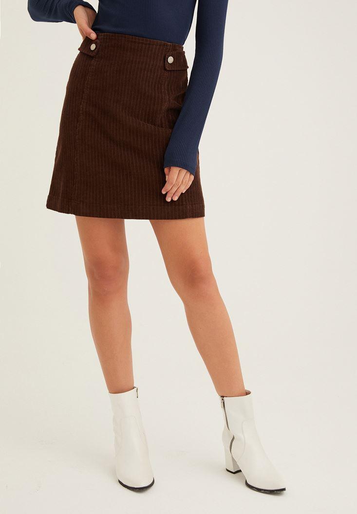 Brown Corduroy Skirt with Zipper