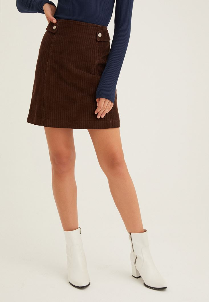 Brown Corduroy Skirt with Zipper