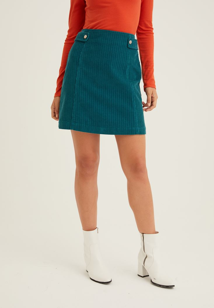 Green Corduroy Skirt with Zipper