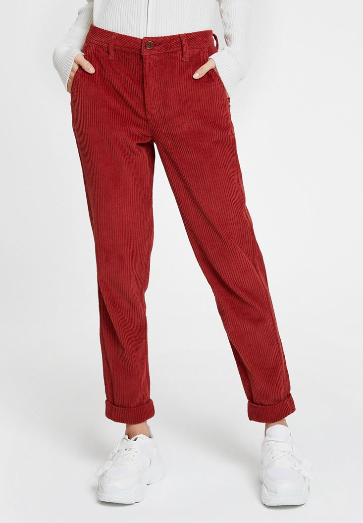 Red Velvet Trousers with Pockets