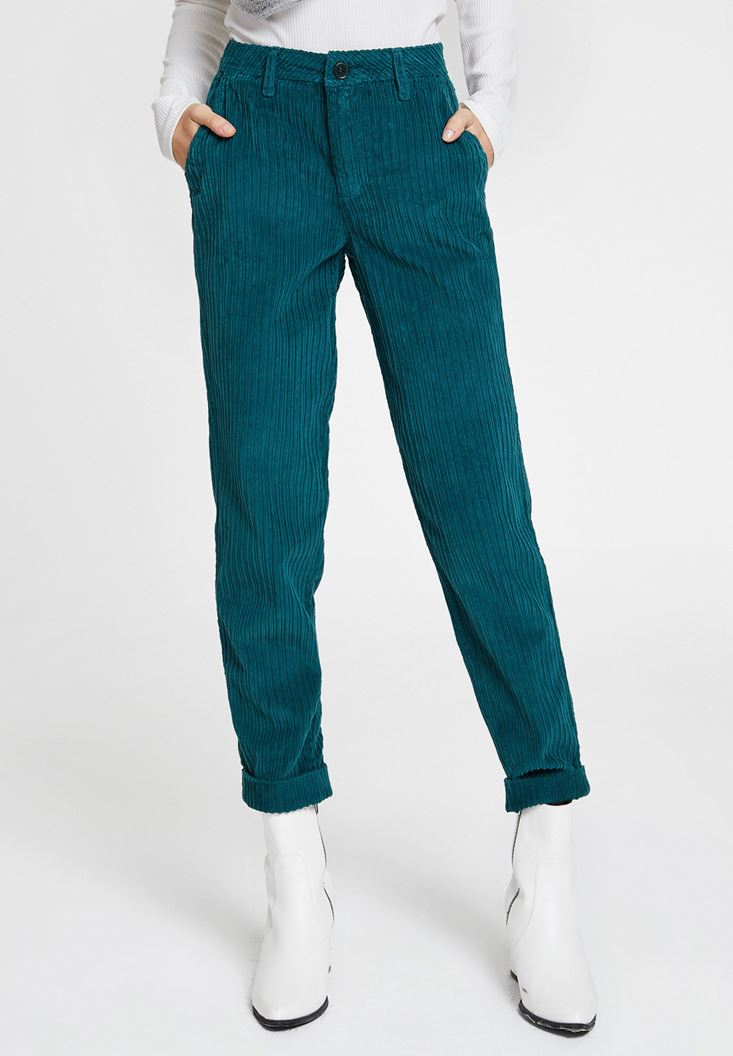 Green Velvet Trousers with Pockets