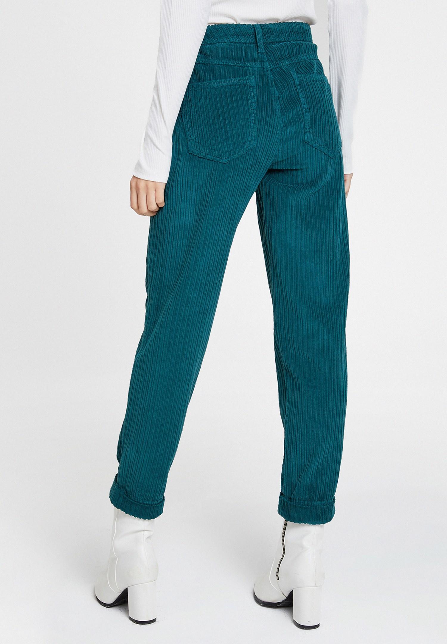 Bayan Yeşil Cepli Kadife Pantolon