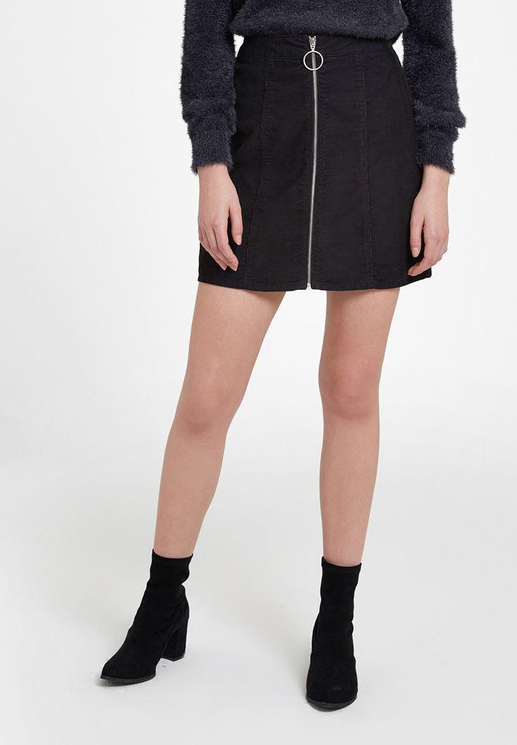 Black Mini Skirt with Zipper