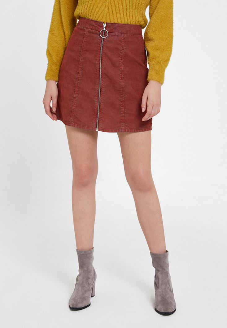 Red Mini Skirt with Zipper