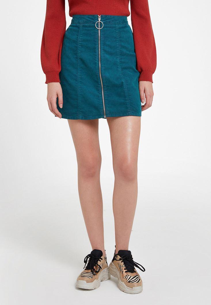 Green Mini Skirt with Zipper