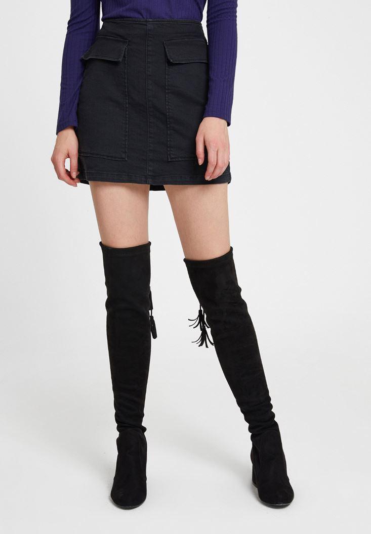 Siyah Cep Detaylı Etek