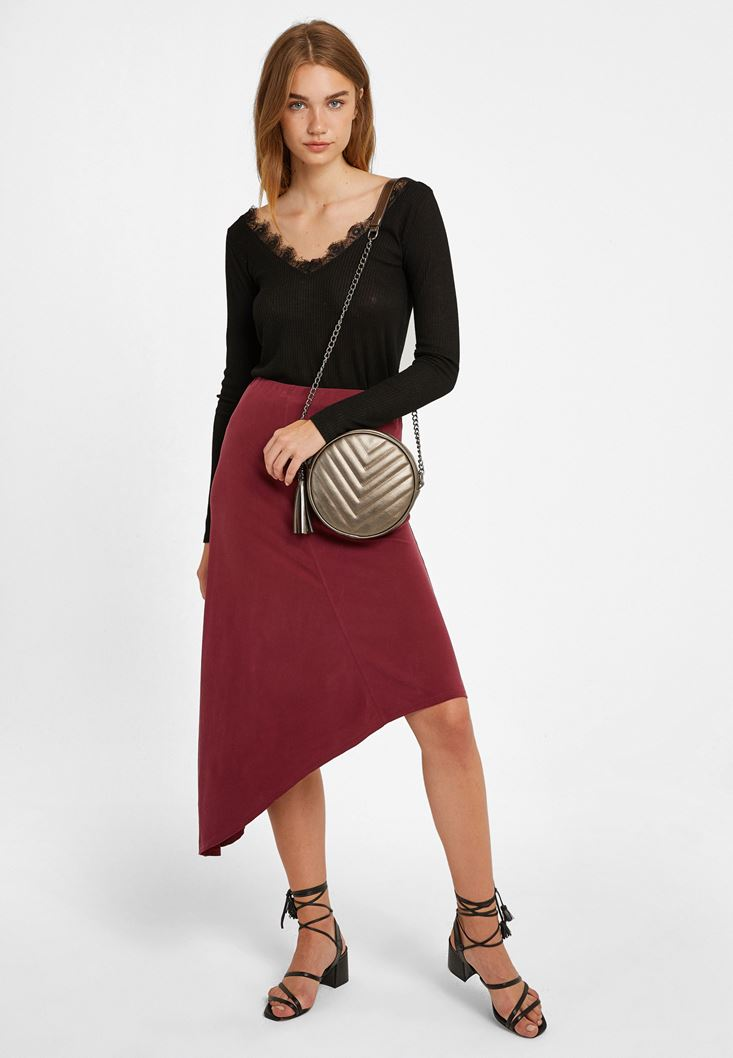 Bordeaux Asymmetric Skirt with Detail