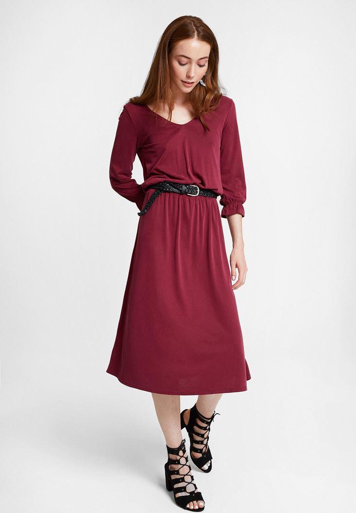 Bordeaux Soft Touch Dress with Back Details