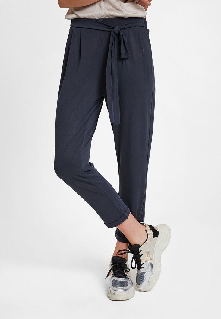 Siyah Beli Bağlamalı Cupro Pantolon
