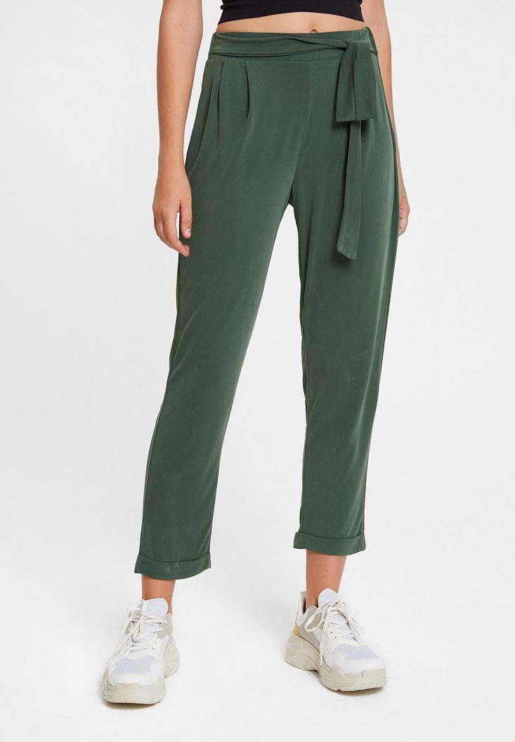 Yeşil Beli Bağlamalı Cupro Pantolon