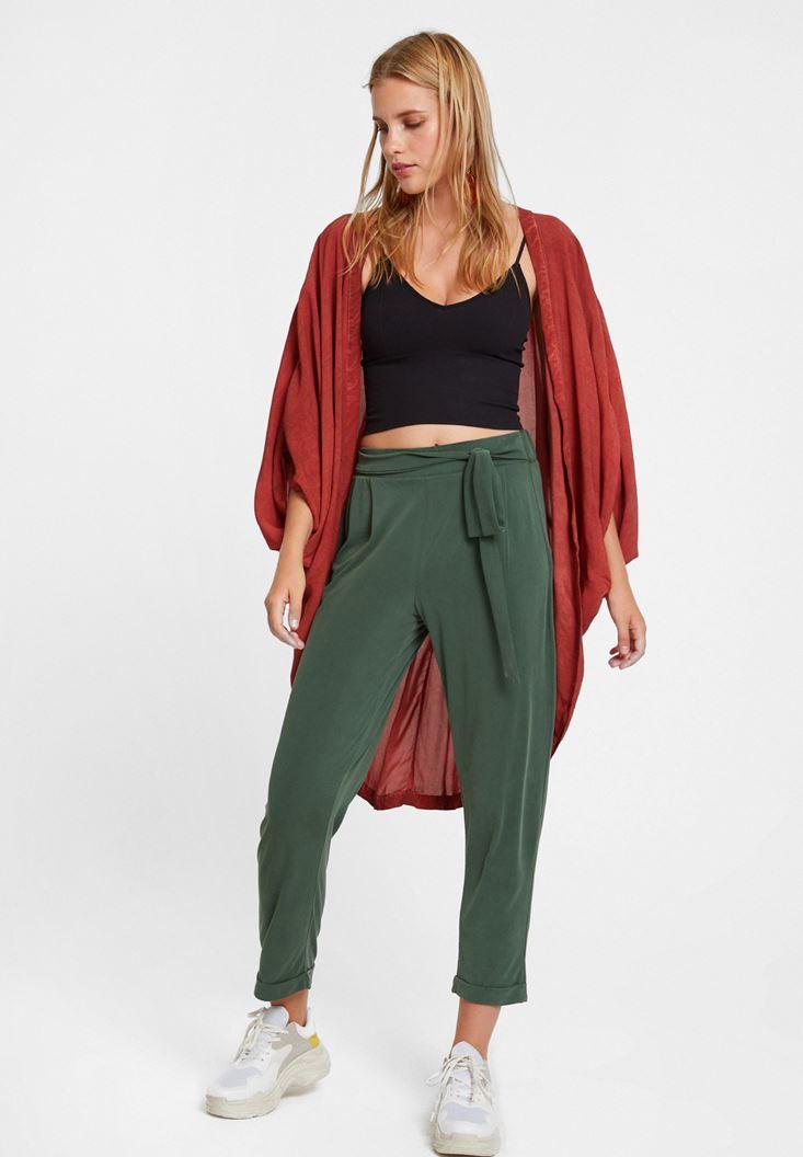 Cupro Pantolon ve Askılı Crop Top Kombini