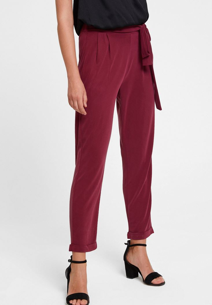 Bordeaux Cupro Pants with Details