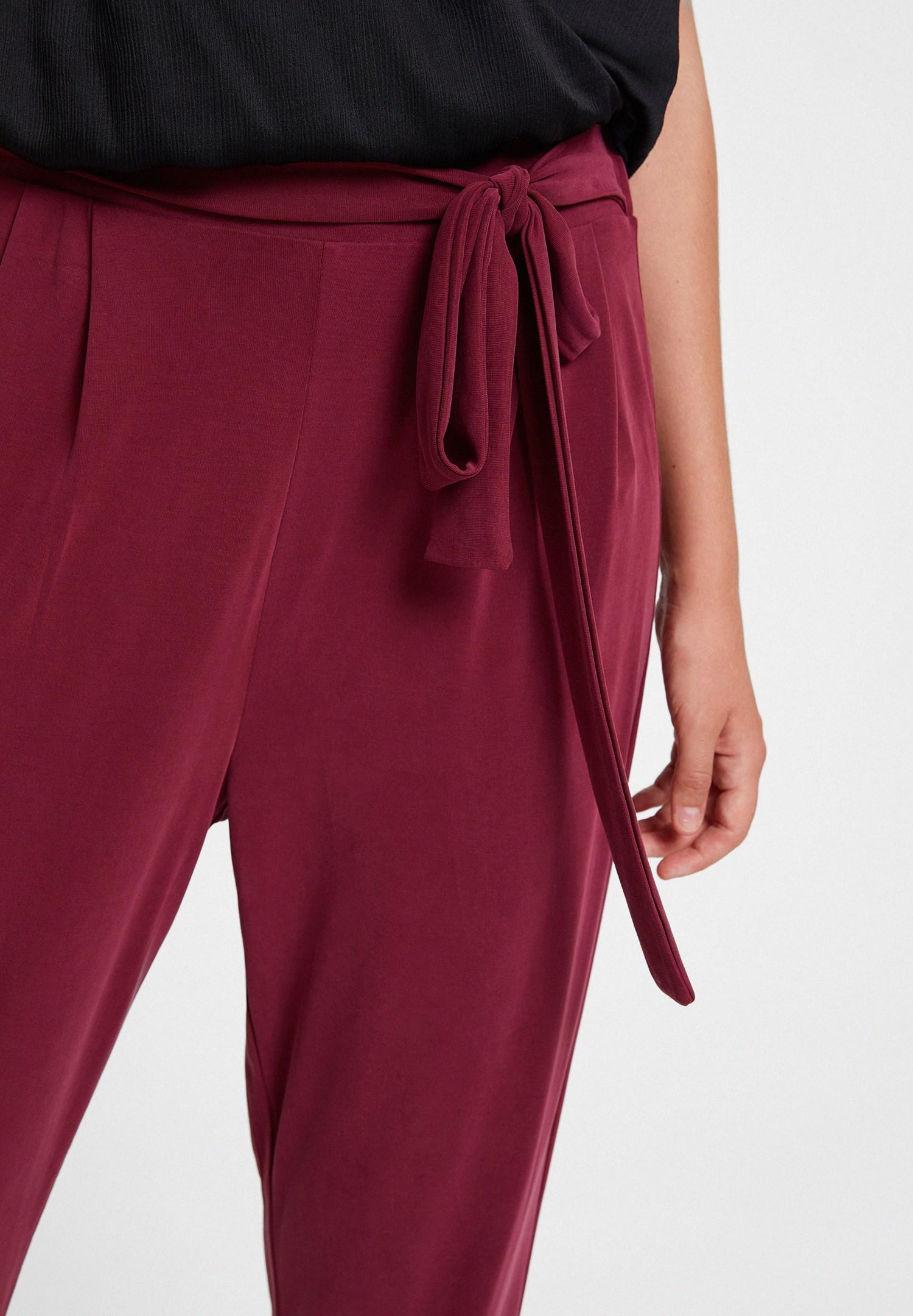 Bayan Bordo Beli Bağlamalı Cupro Pantolon