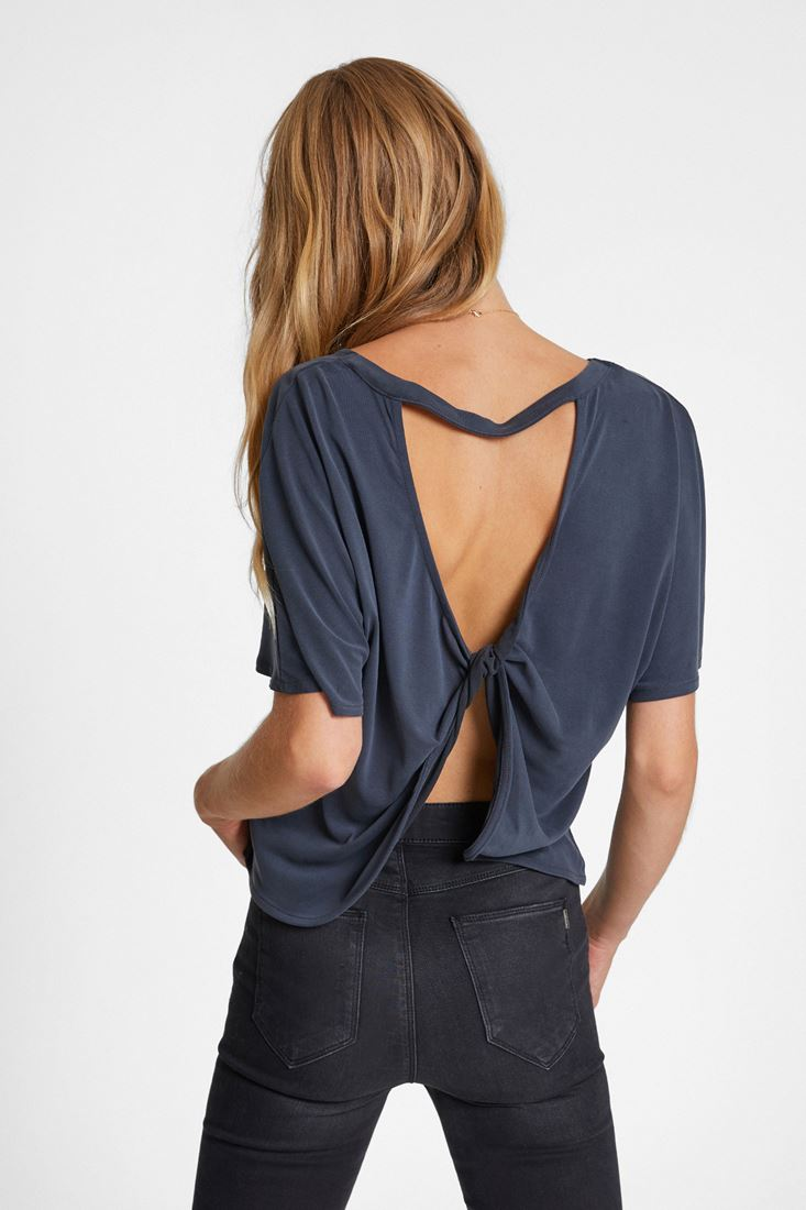 Black Soft Touch Blouse with Back Details