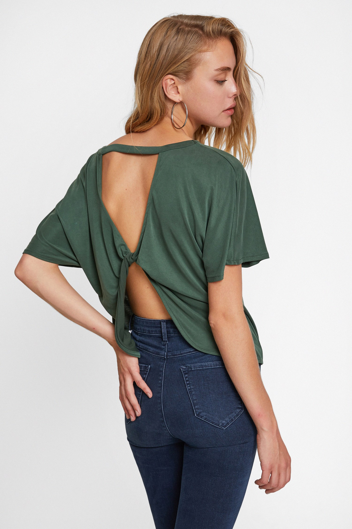Women Green Soft Touch Blouse with Back Details