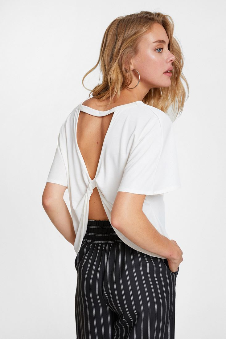 Cream Soft Touch Blouse with Back Details