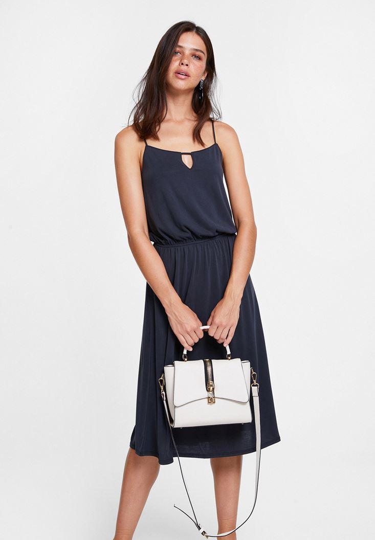 Siyah Sırtı Çapraz Midi Elbise