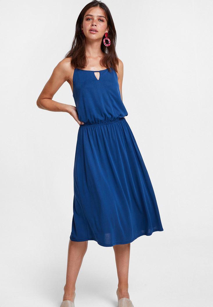 Lacivert Sırtı Çapraz Midi Elbise