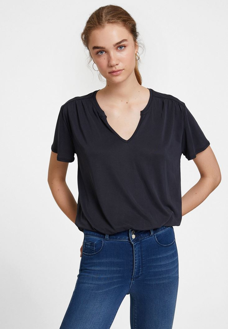 Cupro V Neck Blouse