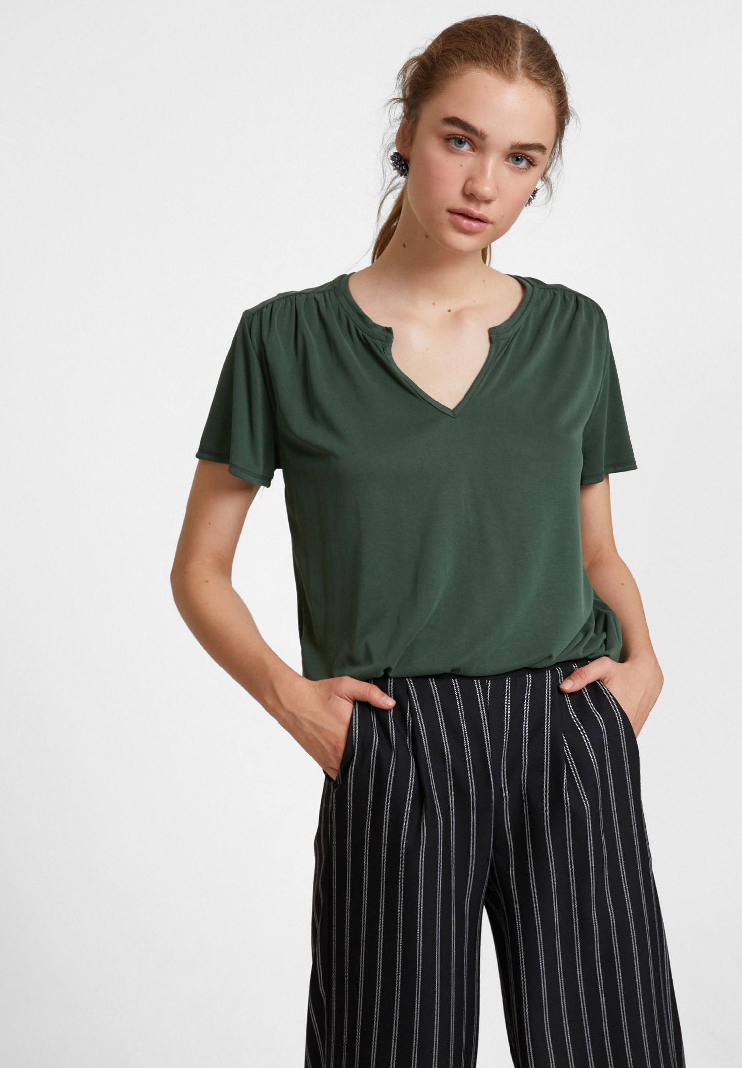Women Green Cupro V Neck Blouse