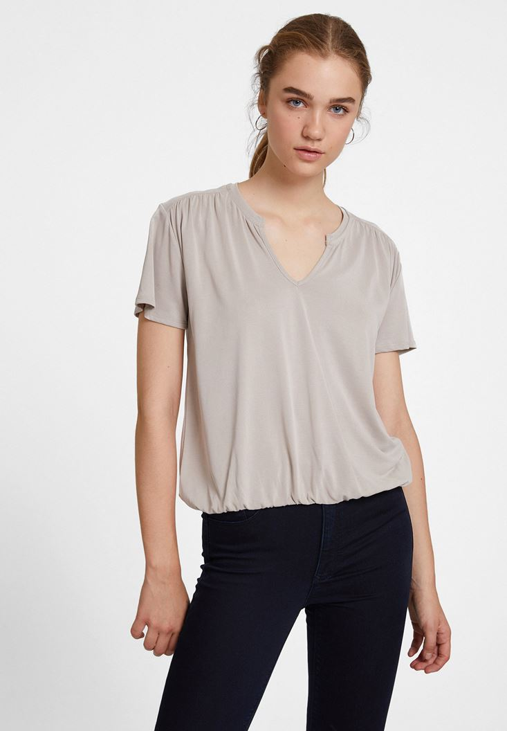Cream Cupro V Neck Blouse