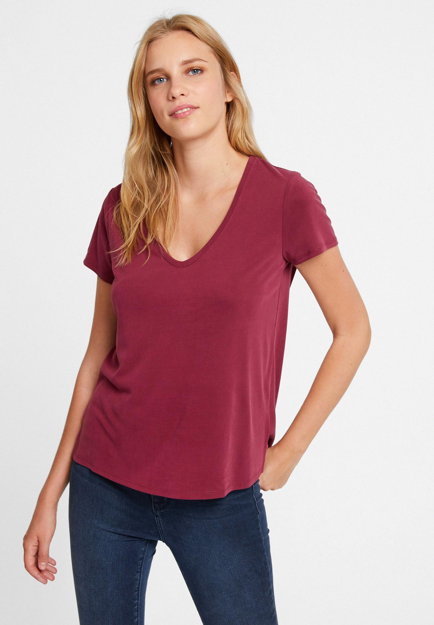 Bayan Bordo V Yaka Cupro Tişört
