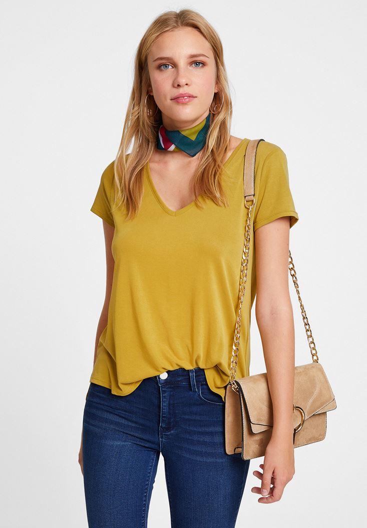 Yeşil V Yaka Cupro Tişört