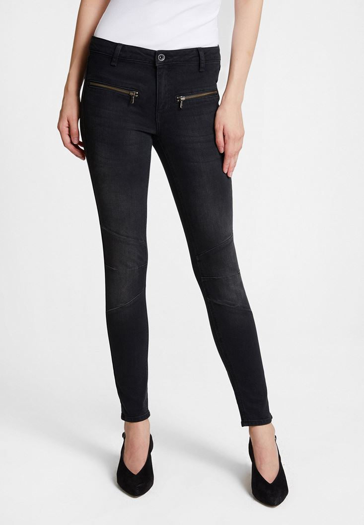 Siyah Fermuar Detaylı Düşük Bel Pantolon