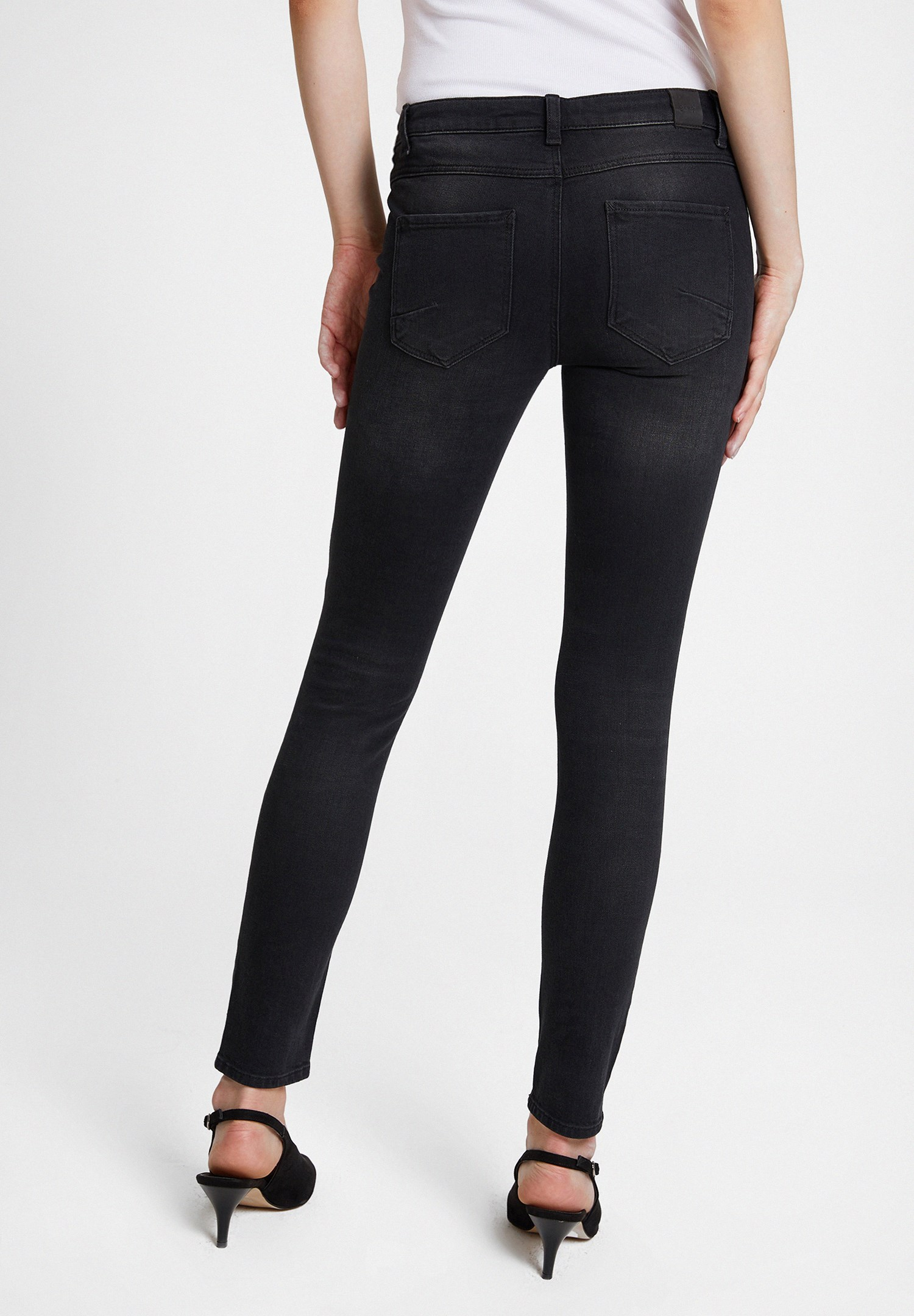 Women Black Low Rise Trousers with Zipper