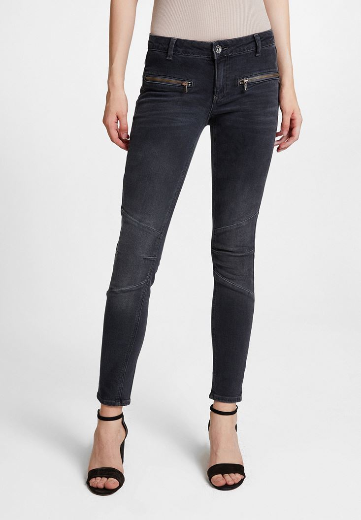 Grey Low Rise Trousers with Zipper