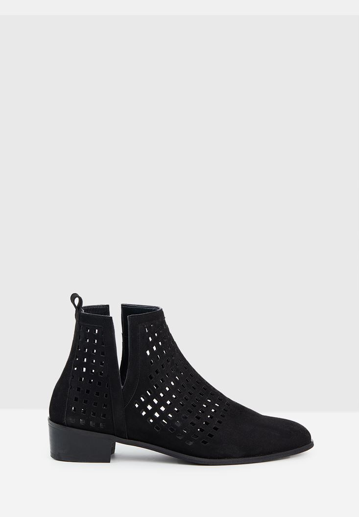 Black Cut-Out Ankle Boots