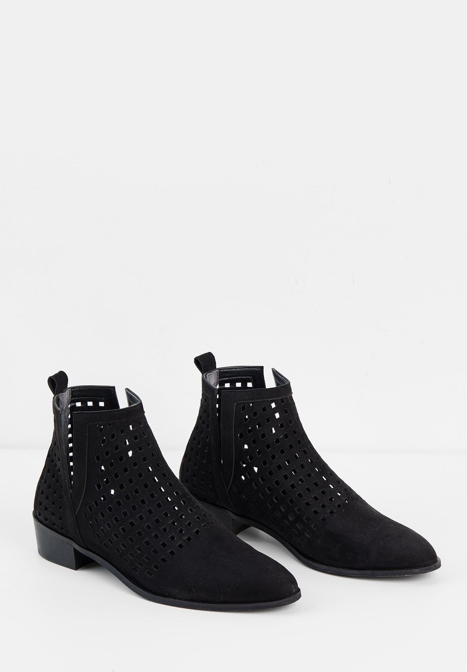 Women Black Cut-Out Ankle Boots