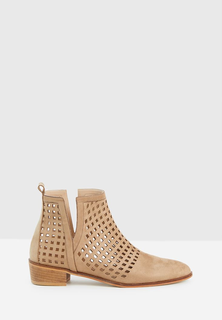 Cream Cut-Out Ankle Boots