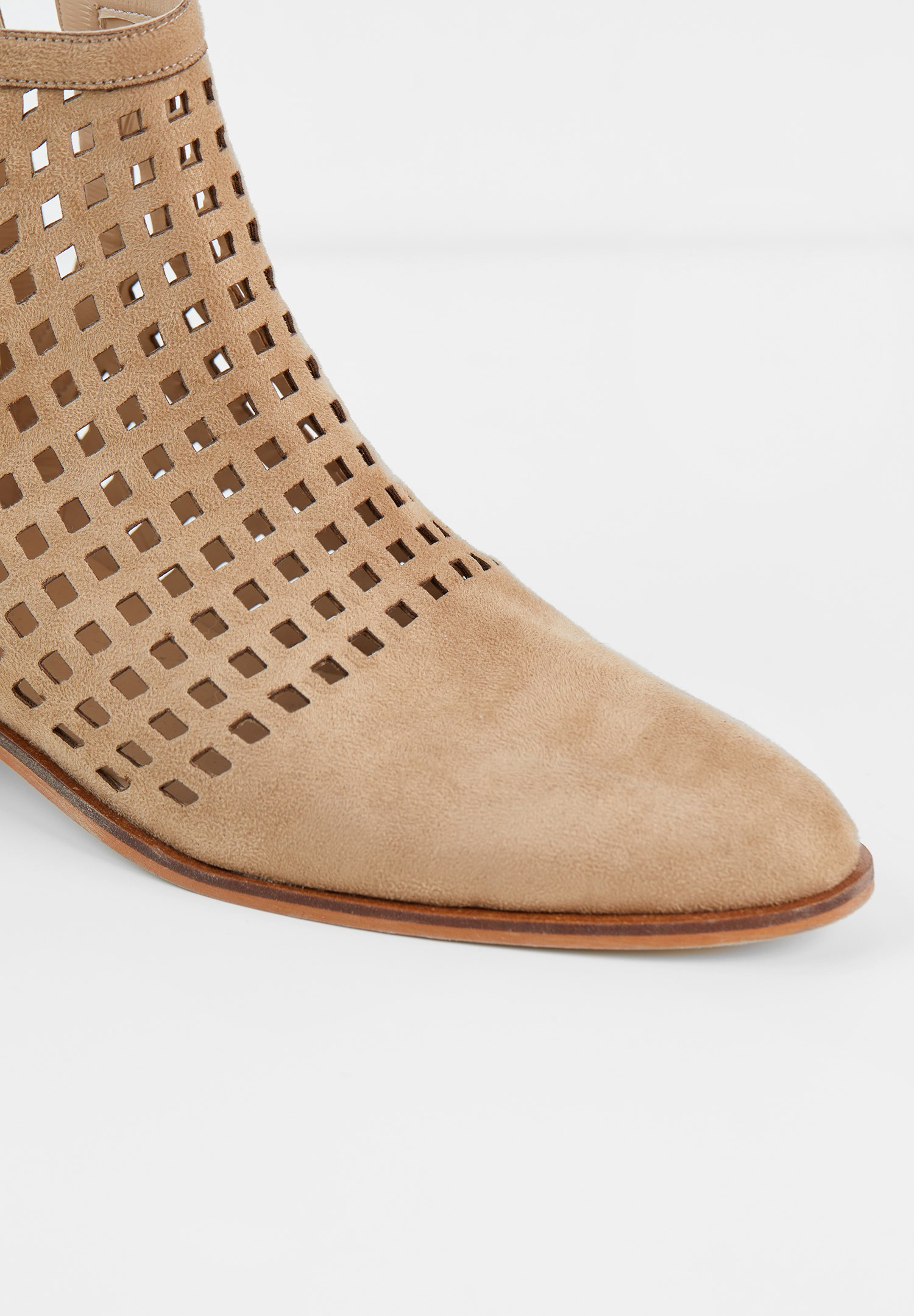 Women Cream Cut-Out Ankle Boots