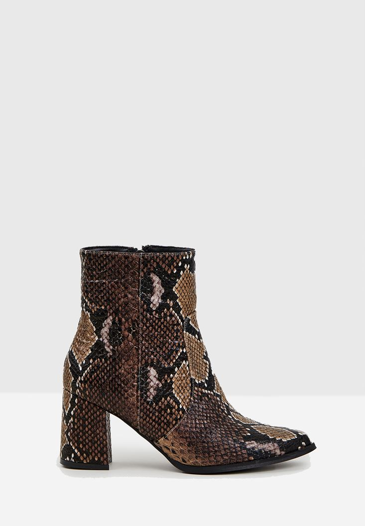 Brown Snakeskin Print Heeled Boots