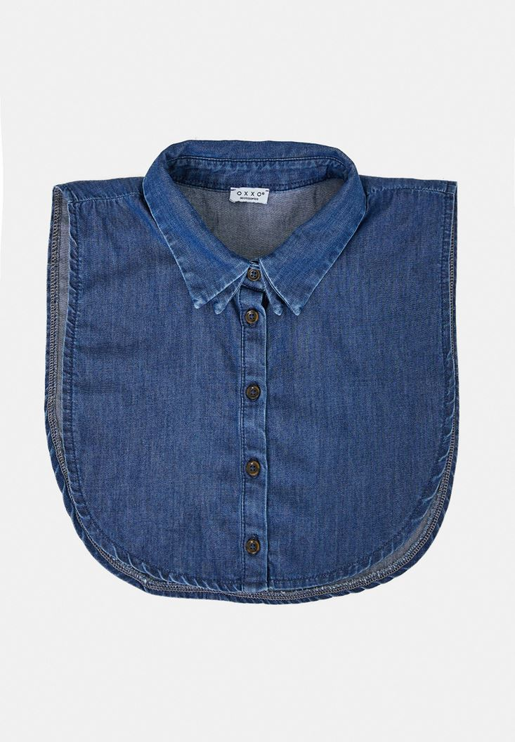 Blue Denim Neck with Detail
