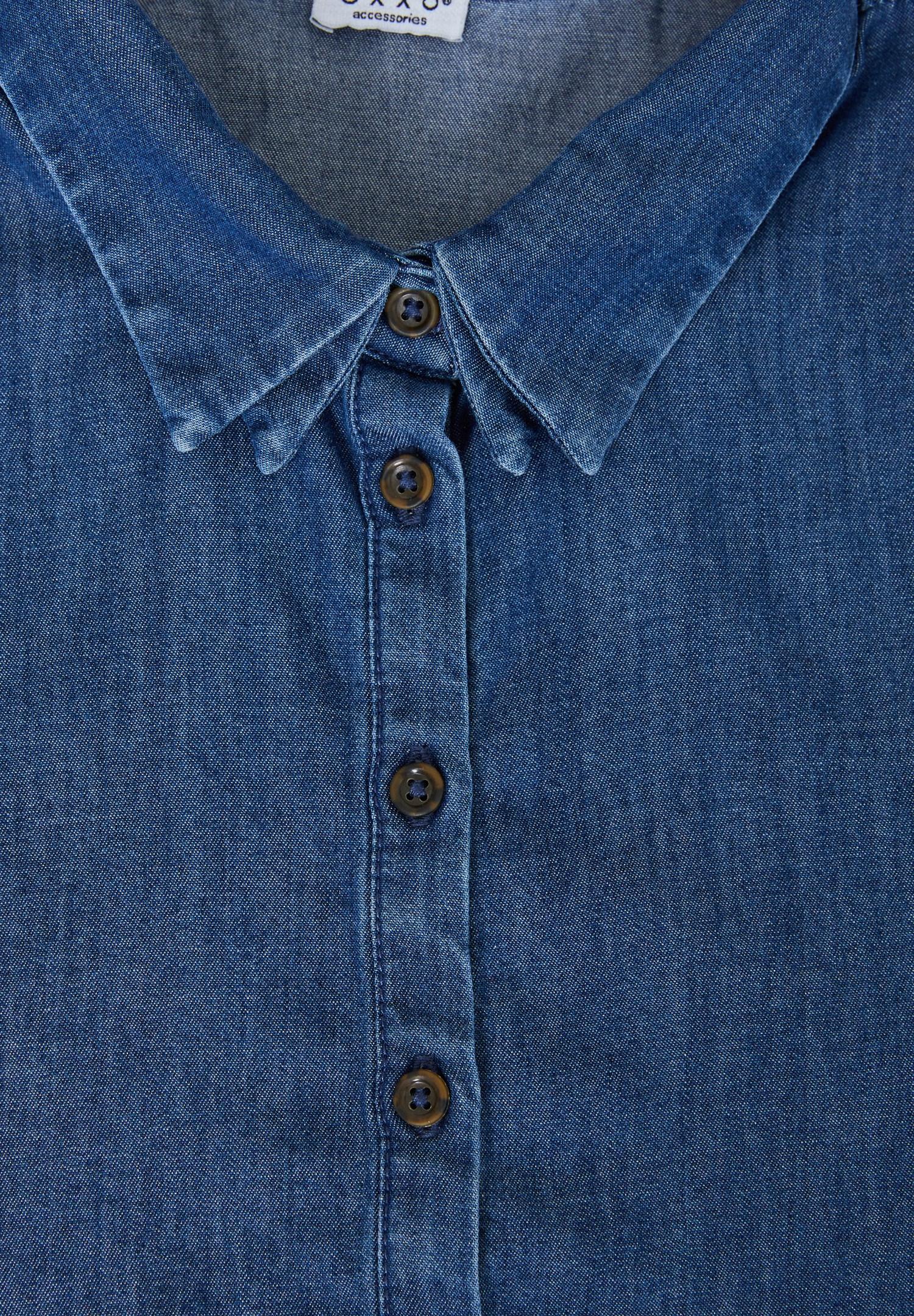 Bayan Mavi Denim Gömlek Yakası