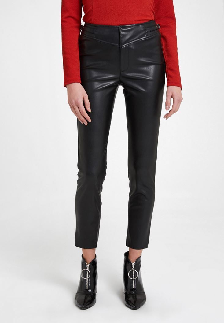 Faux Leather Trousers with Details