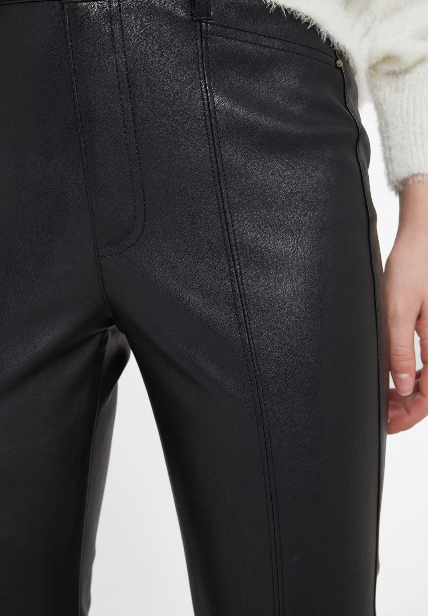 Bayan Siyah Dikiş Detaylı Suni Deri Pantolon