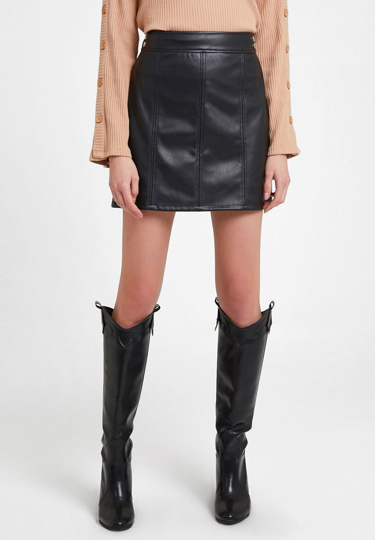 Black Mini Leather Skirt with Details