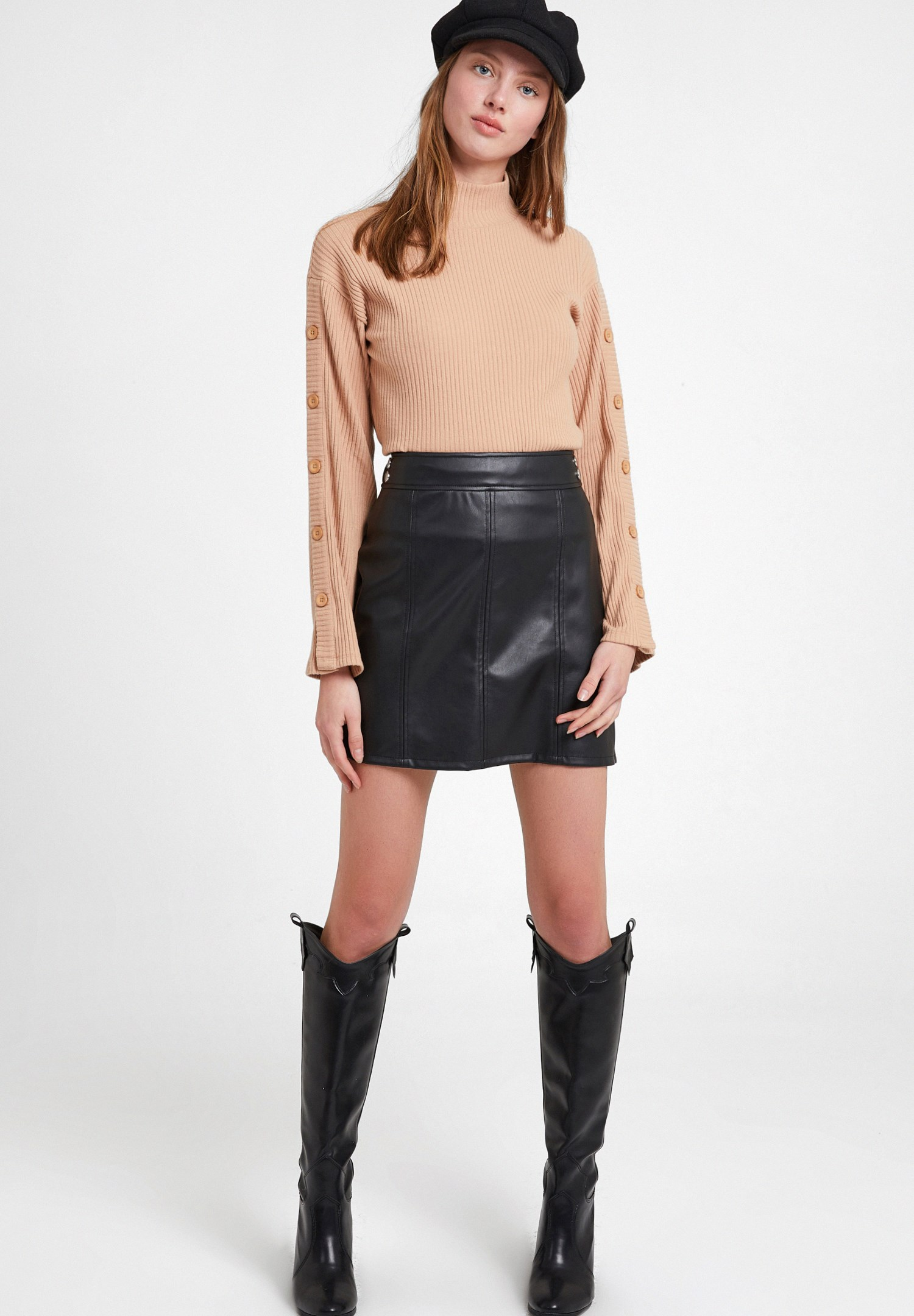 Women Black Mini Leather Skirt with Details