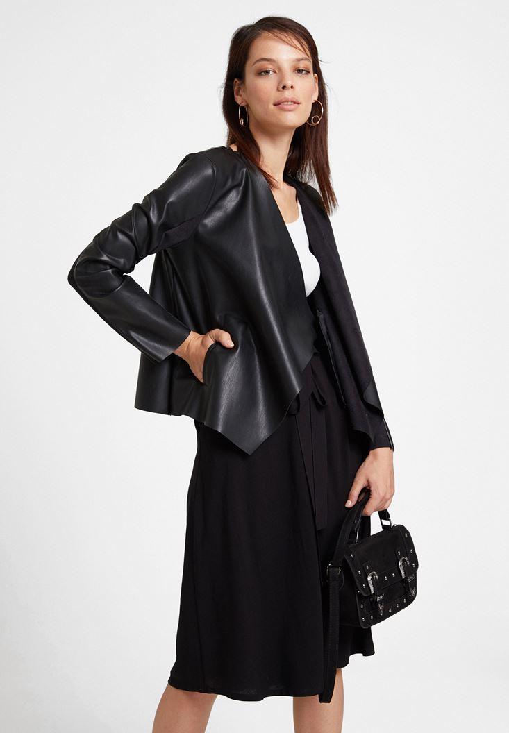 Siyah Şal Yaka Deri Görünümlü Ceket