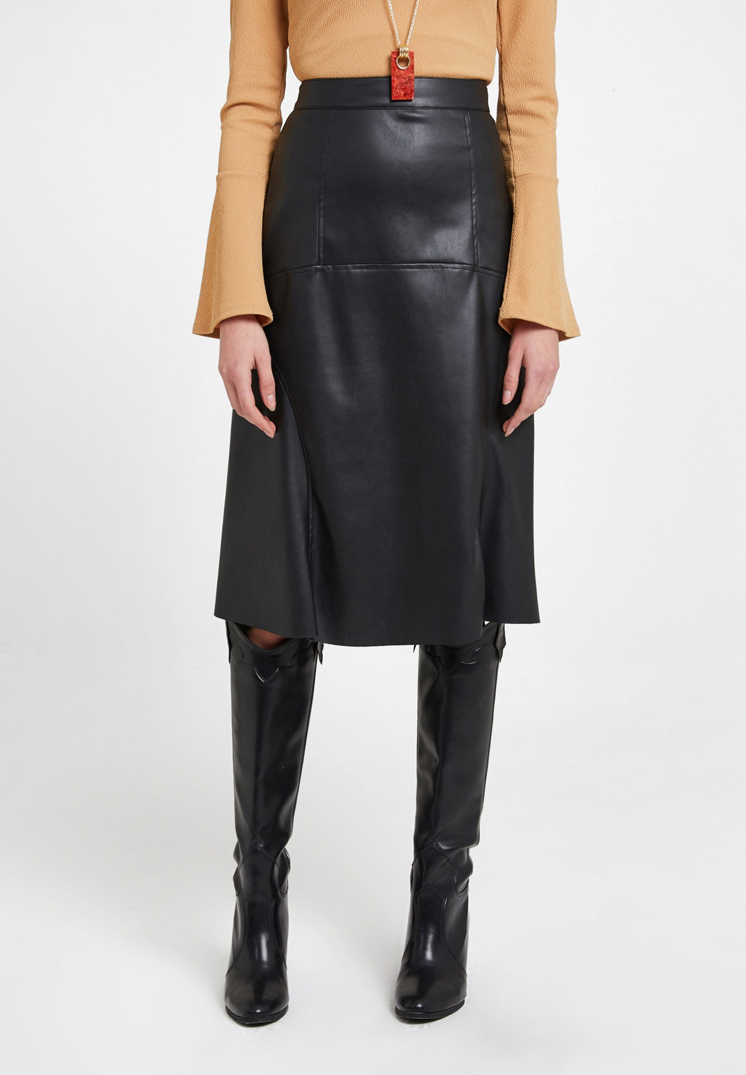 Women Black Faux Leather Midi Skirt