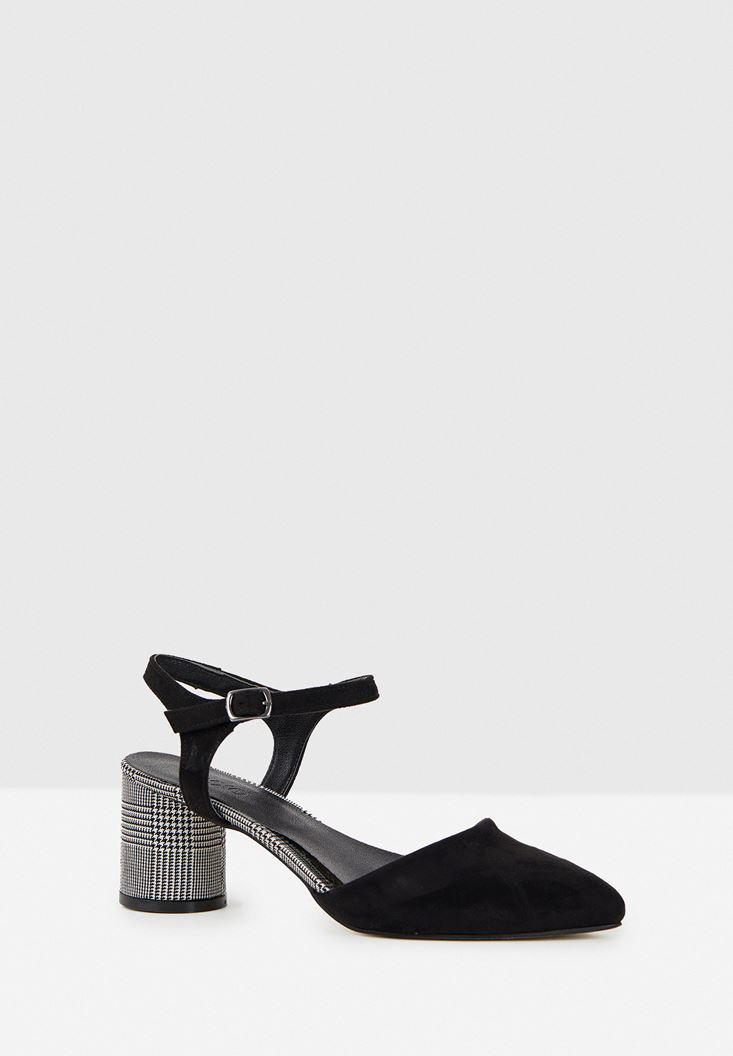 Black High Heel Shoe with Plaid Details