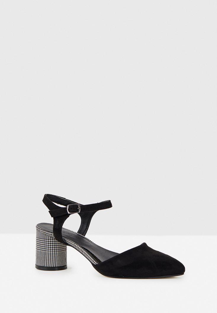 Siyah Ekose Detaylı Topuklu Ayakkabı