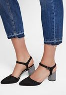Women Black High Heel Shoe with Plaid Details