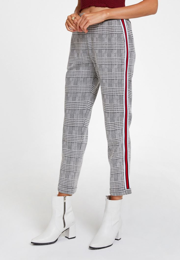 Mixed Checked Jogging Trousers with Stripe Detail